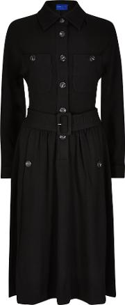 Winser London , Crepe Jersey Shirt Dress, Black