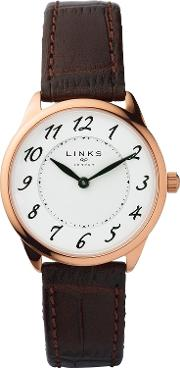 Links Of London , Narrative Womens Brown Leather Watch, Brown