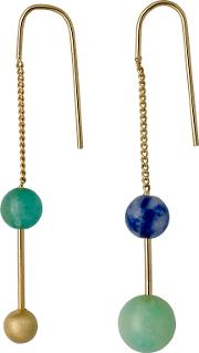 Pilgrim , Gold Plated Chain Earrings With Stones, N
