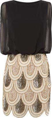 Lace And Beads , Sleeveless Blouson Top Sequin Detail Dress, Black