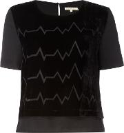 Little White Lies , Crew Neck Patterened Short Sleeve Top, Black