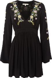 Little White Lies , Embroided Long Sleeve Mini Dress, Black