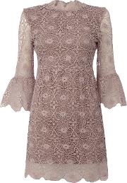 Little White Lies , Longsleeve High Neck Embroidered Dress, Purple