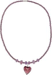 Martick , Faceted Crystal Bead And Murano Glass Pendant Necklace