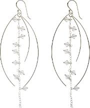 Nina B , Sterling Silver And Clear Crystal Drop Earrings, Silverclear