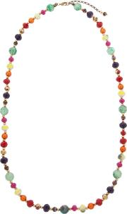 One Button , Bright Bead Long Necklace, Multi