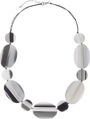 One Button , Flat Striped Oval And Circle Discs Necklace, Greyblack