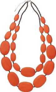 One Button , Large Double Row Pebble Necklace, Burnt Orange