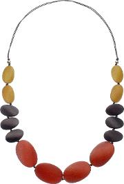 One Button , Long Graduating Pebble Necklace, Burnt Orangemulti