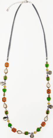 One Button , Mother Of Pearl And Beads Long Necklace