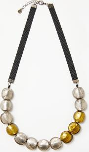 One Button , Round Bead Short Necklace