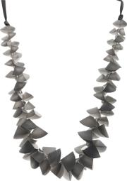 One Button , Segments Clusters Cord Necklace, Grey