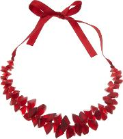 One Button , Segments Clusters Ribbon Necklace, Red