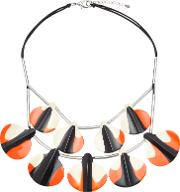 One Button , Two Tone Double Layered Droplets Necklace, Blackorange