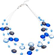 Martick , Floating Murano Glass Lentil Wire Layered Necklace