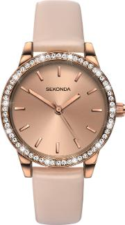 Sekonda , Women's Crystal Leather Look Strap Watch