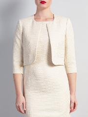 Bruce By Bruce Oldfield , Cropped Metallic Squares Jacket, Cream
