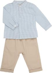 John Lewis Heirloom Collection , Baby Gingham Shirt And Trousers Set, Greywhite