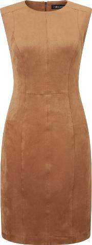 Marc Cain , Sleeveless Suedette Dress, Brown