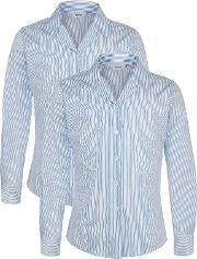 Unbranded , The Tiffin Girls' School Girls' Long Sleeve Blouse, Pack Of 2, Royal Bluewhite