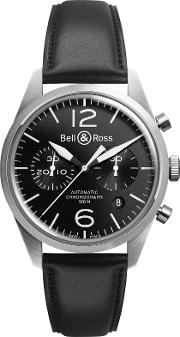 Bell & Ross , Brv126 Bl Stsca Men's Stainless Steel Leather Strap Watch