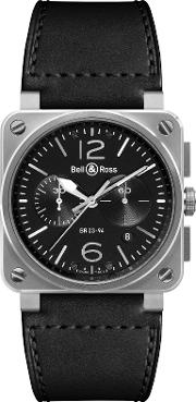 Bell & Ross , Br0394 Bl Sisca Men's Leather Strap Watch