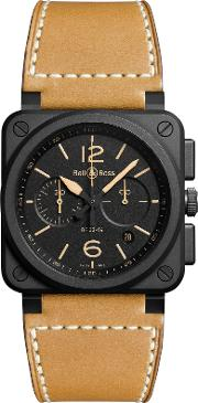 Bell & Ross , Br0394 Heri Ce Men's Leather Strap Watch