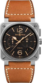 Bell & Ross , Br0394 St G Hesca Men's Golden Heritage Chronograph Leather Strap Watch