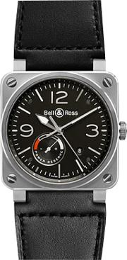 Bell & Ross , Br0397 Bl Sisca Men's Aviation Date Leather Strap Watch
