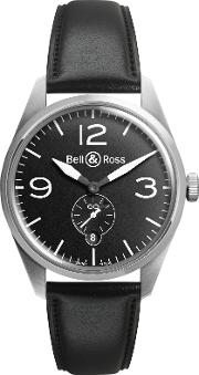 Bell & Ross , Brv123 Bl Stsca Men's Vintage Original Automatic Leather Strap Watch