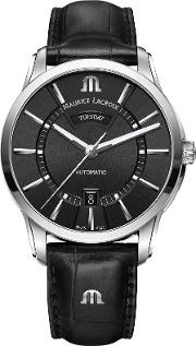 Maurice Lacroix , Pt6358 Ss001 330 1 Men's Pontos Automatic Day Date Leather Strap Watch