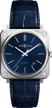 Bell & Ross , Brs92 Blu Stscr Men's Automatic Date Alligator Leather Strap Watch