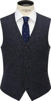 Chester By Chester Barrie , Pindot Wool Tailored Waistcoat, Airforce