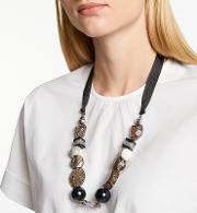 One Button , One Button Crackle Bead Ribbon Necklace