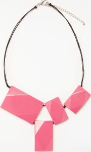 One Button , Rectangle Statement Necklace