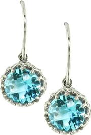 London Road , 9ct Gold Chequer Cut Stone Drop Earrings