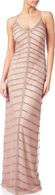 Adrianna Papell , Chevron Beaded Column Gown, Rose Gold