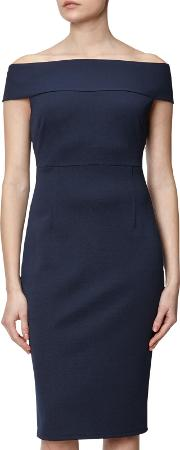 Adrianna Papell , Off Shoulder Fitted Dress, Blue Moon
