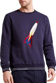 Hymn , Zoom Rocket Graphic Embroidered Sweatshirt, Navy