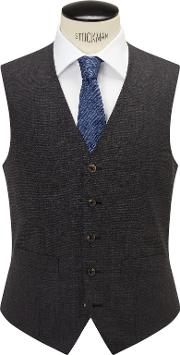 Chester By Chester Barrie , Semi Plain Wool Slim Fit Waistcoat, Grey