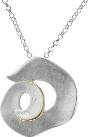 Nina B , Sterling Silver Gold Edged Swirl Pendant