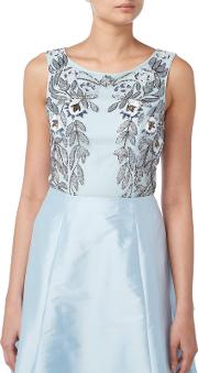 Raishma , Floral Embroidered Sleeveless Crop Top