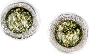 Bejewelled , Be Jewelled Amber And Textured Sterling Silver Stud Earrings, Green