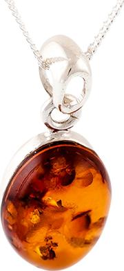 Bejewelled , Be Jewelled Sterling Silver Amber Oval Pendant Necklace, Cognac