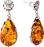 Bejewelled , Be Jewelled Teardrop Amber Drop Earrings, Cognac