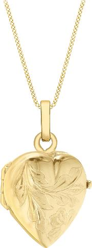 John Lewis , 9ct Gold Flower Heart Locket Pendant Necklace, Gold