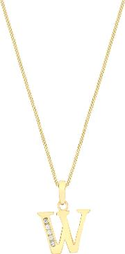 Ibb , 9ct Gold Cubic Zirconia Initial Pendant Necklace