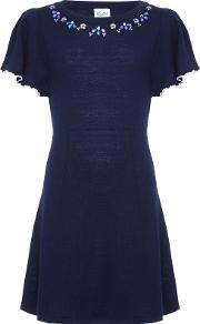 Yumi Girl , Embellished Frill Dress, Navy