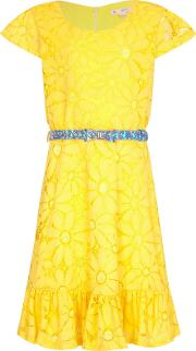 Yumi Girl , Floral Lace Frill Dress, Yellow