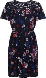 Yumi Girl , Swallow And Blossom Print Dress, Navy